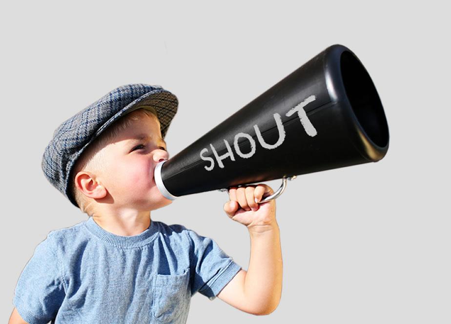 Shout values, boy with megaphone